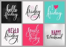 Sistema de la postal de las letras del fin de semana de viernes Imágenes de archivo libres de regalías