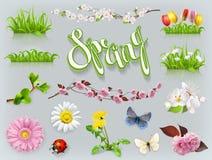 Sistema de la primavera Hierba y flores Engrana el icono ilustración del vector