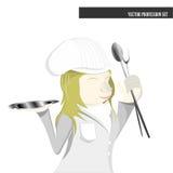 Sistema de la profesión, historieta de la hembra del cocinero Imagenes de archivo