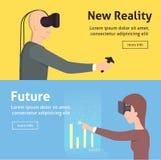 Sistema de la realidad virtual Estilo de la historieta Ilustración del vector Fotografía de archivo libre de regalías