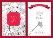 Sistema de la reserva floral del vector la tarjeta de felicitación de la fecha Porción dibujada mano Fotografía de archivo libre de regalías
