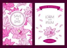 Sistema de la reserva floral del vector la tarjeta de felicitación de la fecha Porción dibujada mano Foto de archivo