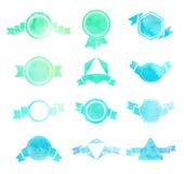 Sistema de la ronda del vintage del watercolour, del triángulo y de h azules y verdes Imagen de archivo libre de regalías
