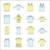 Sistema de la ropa de las mujeres La ropa de las mujeres para el hogar Imágenes de archivo libres de regalías