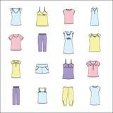 Sistema de la ropa de las mujeres La ropa de las mujeres para el hogar Foto de archivo