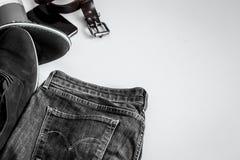 Sistema de la ropa de los hombres en el fondo blanco Fotografía de archivo libre de regalías