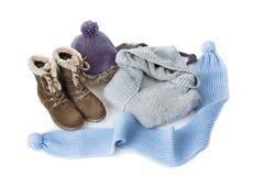 Sistema de la ropa del invierno de las mujeres Fotografía de archivo libre de regalías