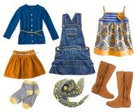 Sistema de la ropa del niño de la moda Collage de la ropa de la muchacha del niño Imagen de archivo