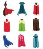 Sistema de la ropa del partido de las capas y del traje de los cabos Tela al aire libre, sobre el ejemplo plano de la historieta  stock de ilustración