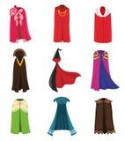 Sistema de la ropa del partido de las capas y del traje de los cabos Tela al aire libre, sobre el ejemplo plano de la historieta  ilustración del vector