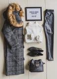 Sistema de la ropa de moda, accesorios para la mujer Imagen de archivo libre de regalías