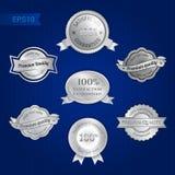 Sistema de la satisfacción garantizada y del emblema superior de la calidad ilustración del vector