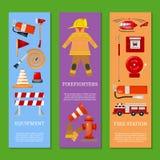 Sistema de la seguridad contra incendios del ejemplo del vector de las banderas Uniforme e inventario del bombero Casco, guantes  ilustración del vector