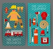 Sistema de la seguridad contra incendios del ejemplo del vector de las banderas Uniforme e inventario del bombero Equipo como boc libre illustration