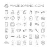 Sistema de la separación de la basura que recicla vector de clasificación inútil relacionado de los iconos del esquema stock de ilustración