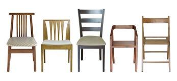 Sistema de la silla de madera aislado en blanco Imágenes de archivo libres de regalías