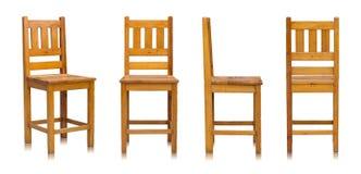 Sistema de la silla de madera aislado en blanco Foto de archivo libre de regalías
