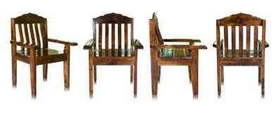Sistema de la silla de madera oscura aislada en blanco Imagen de archivo libre de regalías