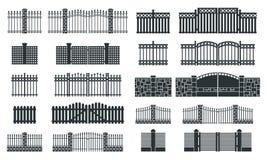 Sistema de la silueta de la cerca del vector Foto de archivo libre de regalías