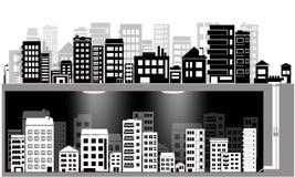 Sistema de la silueta de la ciudad del vector y ciudad subterráneo Fotografía de archivo