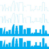 Sistema de la silueta de la ciudad Fondo de la ciudad del panorama Fotos de archivo