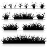 Sistema de la silueta de la hierba Imágenes de archivo libres de regalías