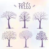 Sistema de la silueta de los árboles Imagen de archivo