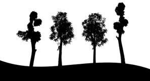 Sistema de la silueta del árbol en el fondo blanco Imágenes de archivo libres de regalías