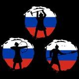Sistema de la silueta del guerrero en la bandera de Rusia y el fondo negro Imágenes de archivo libres de regalías