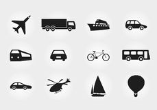 Sistema de la silueta del negro del transporte Fotografía de archivo libre de regalías