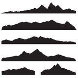 Sistema de la silueta del paisaje de las montañas Frontera de la montaña del alto pico libre illustration