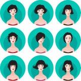Sistema de la silueta del peinado de la mujer Imagen de archivo