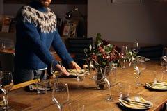 Sistema de la tabla de cena de la porción Imagen de archivo