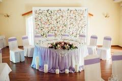 Sistema de la tabla para casarse u otro evento abastecido Fotografía de archivo libre de regalías