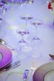 Sistema de la tabla para un partido o una recepción nupcial del evento Imagen de archivo