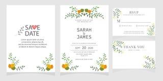 Sistema de la tarjeta con la rosa de la flor, hojas El cartel floral, invita Concepto del ornamento de la boda Plantilla de la ta imagen de archivo libre de regalías