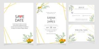 Sistema de la tarjeta con la rosa de la flor, hojas El cartel floral, invita Concepto del ornamento de la boda Plantilla de la ta fotografía de archivo