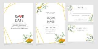 Sistema de la tarjeta con la rosa de la flor, hojas El cartel floral, invita Concepto del ornamento de la boda Plantilla de la ta fotos de archivo