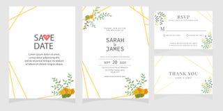 Sistema de la tarjeta con la rosa de la flor, hojas El cartel floral, invita Concepto del ornamento de la boda Plantilla de la ta imagenes de archivo