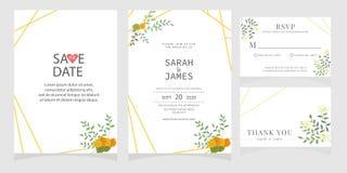 Sistema de la tarjeta con la rosa de la flor, hojas El cartel floral, invita Concepto del ornamento de la boda Plantilla de la ta fotografía de archivo libre de regalías