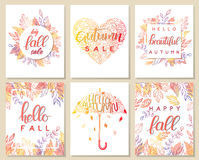 Sistema de la tarjeta creativa del otoño Fotos de archivo libres de regalías