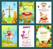Sistema de la tarjeta de felicitación de la historieta de los días de fiesta de Pascua