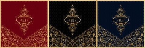 Sistema 2017 de la tarjeta de felicitación del Año Nuevo Vector Fotos de archivo