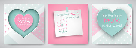 Sistema de la tarjeta de felicitación verde y rosada para el día del ` s de la madre con el cuadrado Foto de archivo libre de regalías