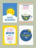 Sistema de la tarjeta de felicitación de la buena mañana en estilo del garabato Foto de archivo