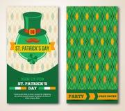 Sistema de la tarjeta de felicitación del día de St Patrick feliz o Imagen de archivo libre de regalías