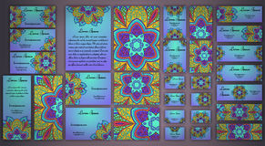 Sistema de la tarjeta de visita del vector Modelo y ornamentos florales de la mandala Imagenes de archivo