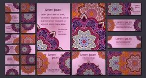 Sistema de la tarjeta de visita del vector Modelo y ornamentos florales de la mandala Disposición de diseño oriental Islam, árabe Imagen de archivo libre de regalías