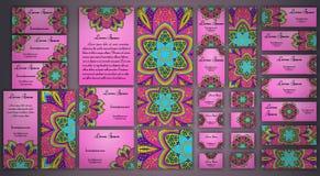Sistema de la tarjeta de visita del vector Modelo y ornamentos florales de la mandala Disposición de diseño oriental Islam, árabe Fotografía de archivo
