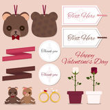 Sistema de la tarjeta del día de San Valentín Imagen de archivo libre de regalías